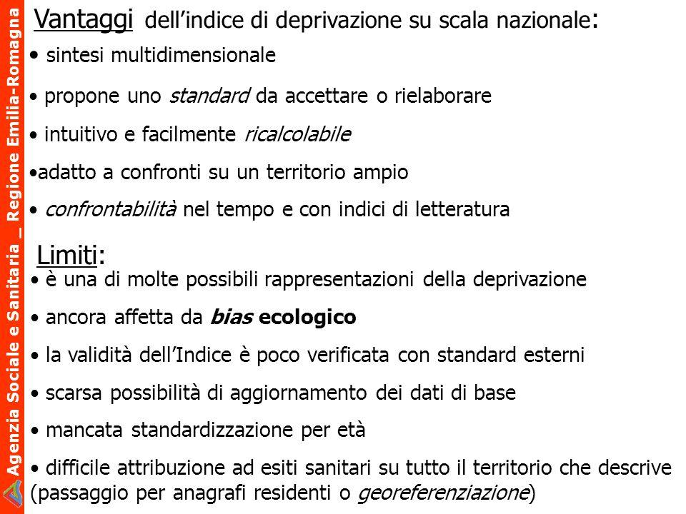 Agenzia Sociale e Sanitaria _ Regione Emilia-Romagna Vantaggi dellindice di deprivazione su scala nazionale : è una di molte possibili rappresentazion