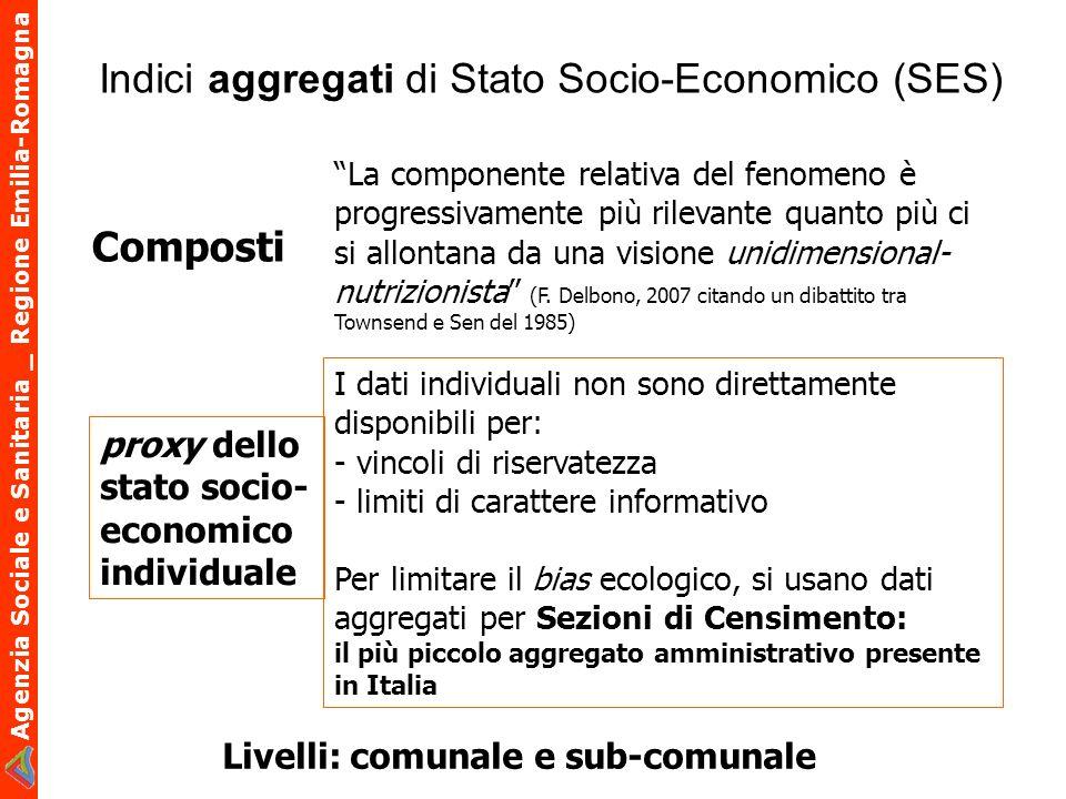 Agenzia Sociale e Sanitaria _ Regione Emilia-Romagna Indici aggregati di Stato Socio-Economico (SES) La componente relativa del fenomeno è progressiva
