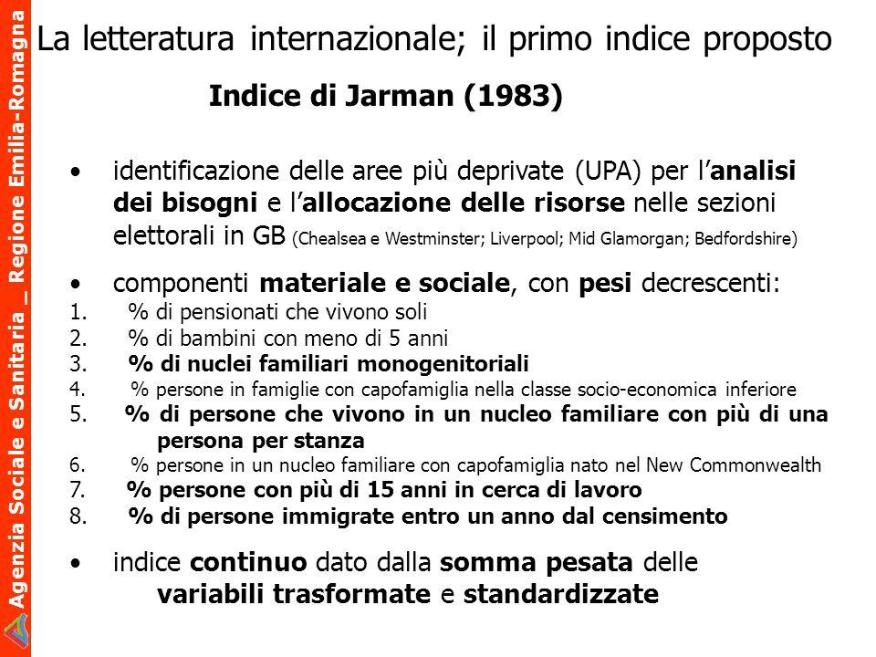 Agenzia Sociale e Sanitaria _ Regione Emilia-Romagna La letteratura internazionale; il primo indice proposto identificazione delle aree più deprivate