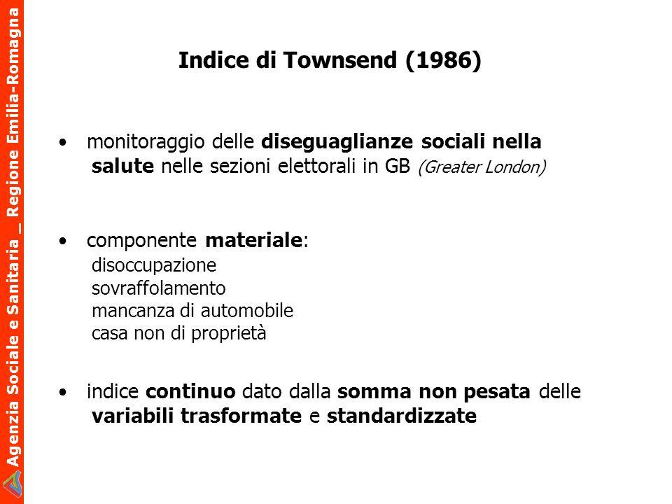 Agenzia Sociale e Sanitaria _ Regione Emilia-Romagna Mediana degli indicatori di deprivazione per ripartizione geografica
