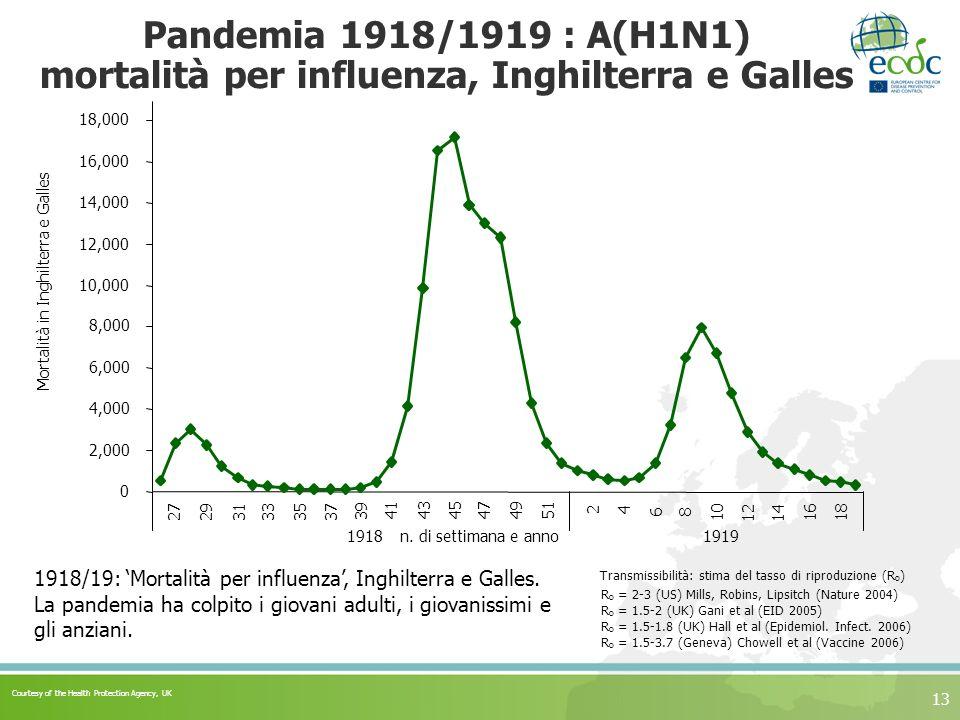 13 Pandemia 1918/1919 : A(H1N1) mortalità per influenza, Inghilterra e Galles 1918/19: Mortalità per influenza, Inghilterra e Galles. La pandemia ha c