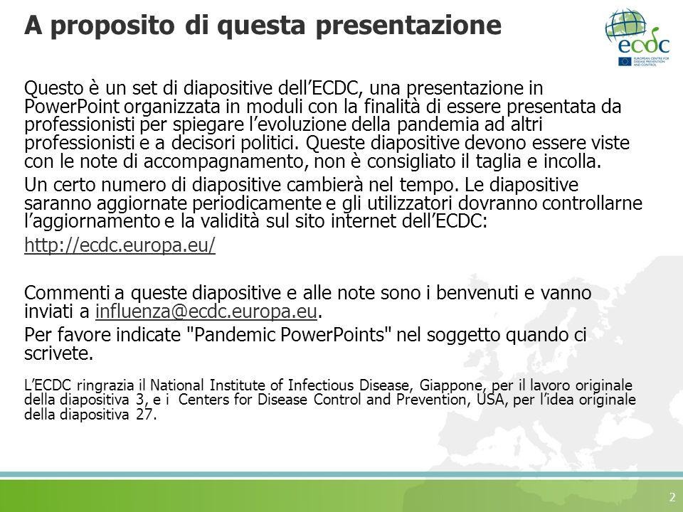 2 A proposito di questa presentazione Questo è un set di diapositive dellECDC, una presentazione in PowerPoint organizzata in moduli con la finalità di essere presentata da professionisti per spiegare levoluzione della pandemia ad altri professionisti e a decisori politici.