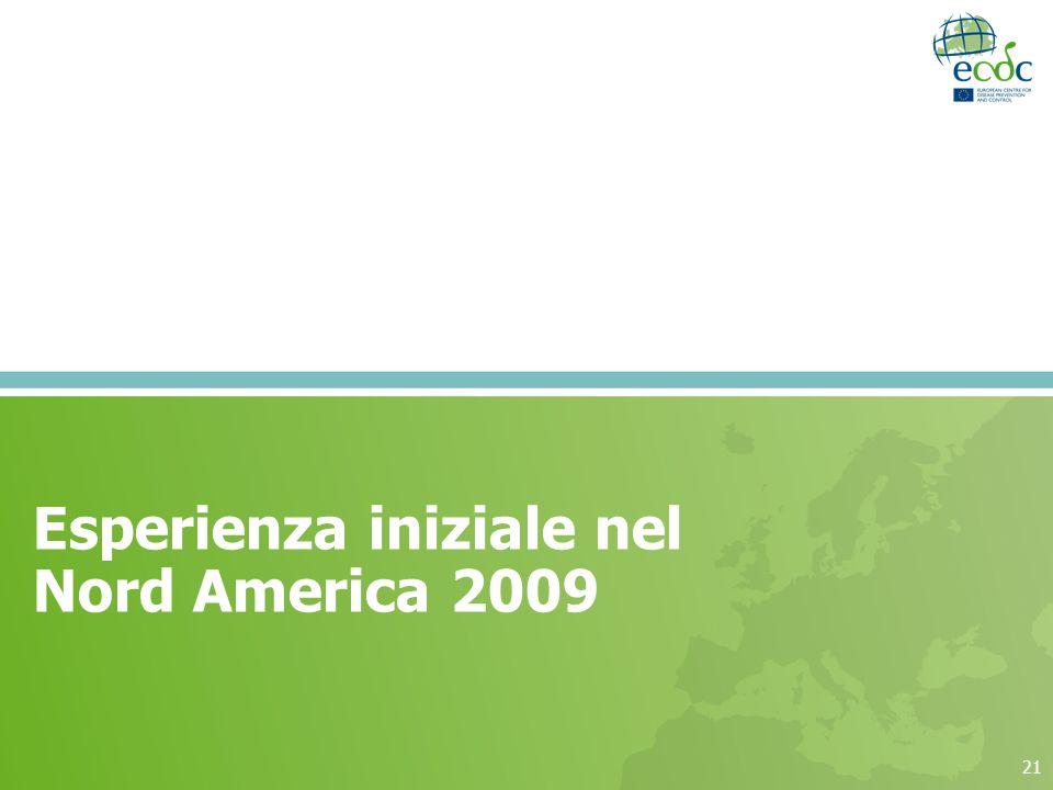 21 Esperienza iniziale nel Nord America 2009