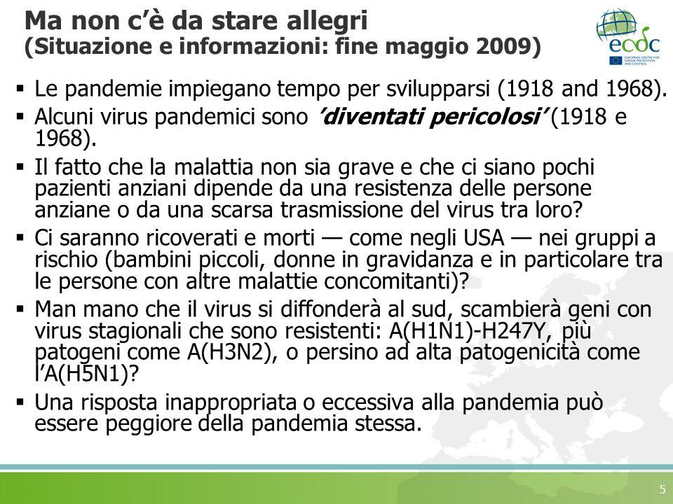 5 Ma non cè da stare allegri (Situazione e informazioni: fine maggio 2009) Le pandemie impiegano tempo per svilupparsi (1918 and 1968).