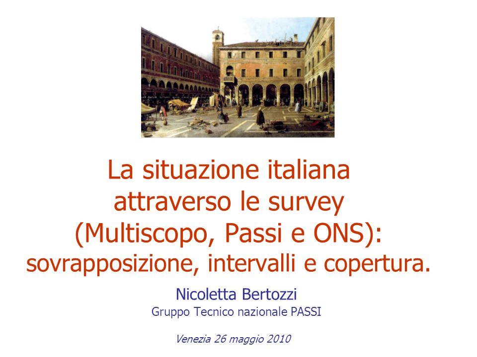 La situazione italiana attraverso le survey (Multiscopo, Passi e ONS): sovrapposizione, intervalli e copertura. Nicoletta Bertozzi Gruppo Tecnico nazi