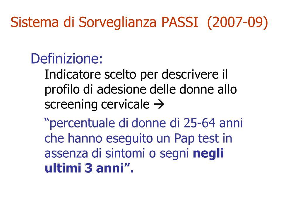 Sistema di Sorveglianza PASSI (2007-09) Definizione: Indicatore scelto per descrivere il profilo di adesione delle donne allo screening cervicale perc