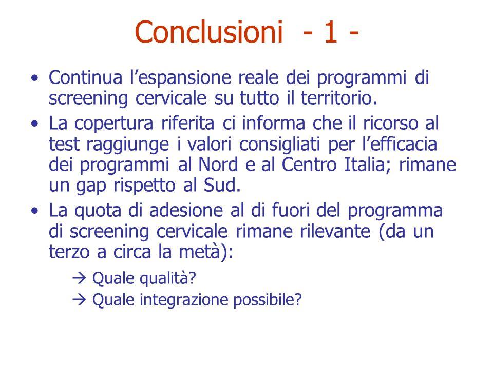Conclusioni - 1 - Continua lespansione reale dei programmi di screening cervicale su tutto il territorio. La copertura riferita ci informa che il rico