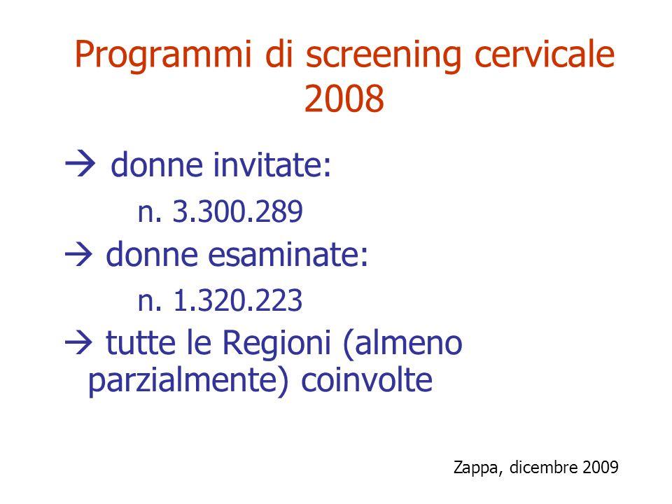 Programmi di screening cervicale 2008 donne invitate: n. 3.300.289 donne esaminate: n. 1.320.223 tutte le Regioni (almeno parzialmente) coinvolte Zapp