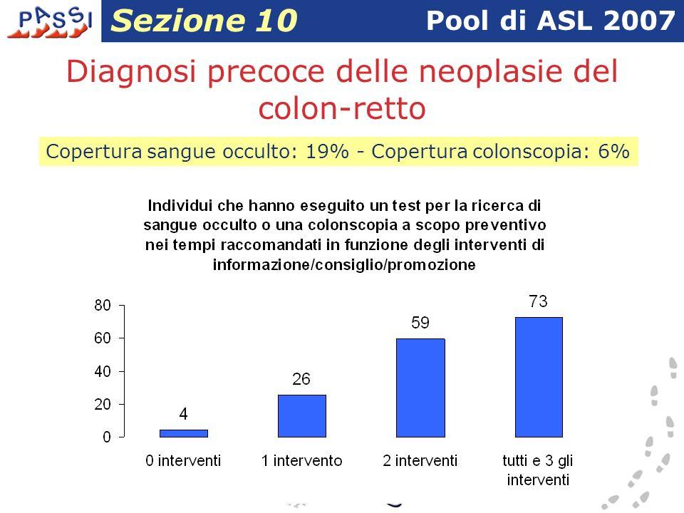 Diagnosi precoce delle neoplasie del colon-retto Pool di ASL 2007 Sezione 10 Copertura sangue occulto: 19% - Copertura colonscopia: 6%