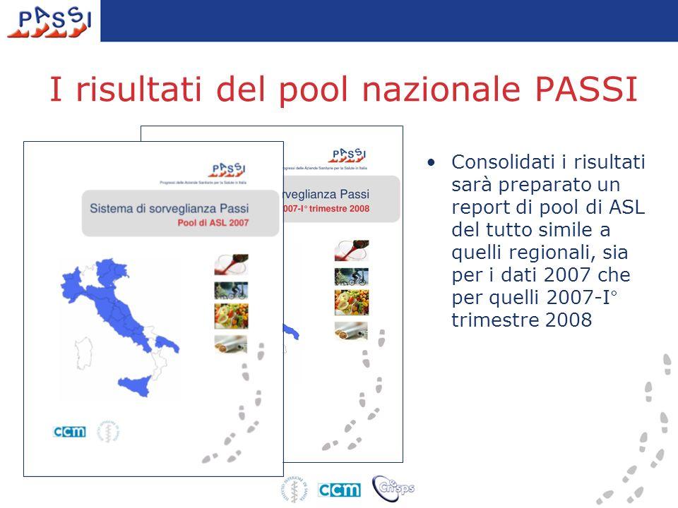Consolidati i risultati sarà preparato un report di pool di ASL del tutto simile a quelli regionali, sia per i dati 2007 che per quelli 2007-I° trimestre 2008 I risultati del pool nazionale PASSI