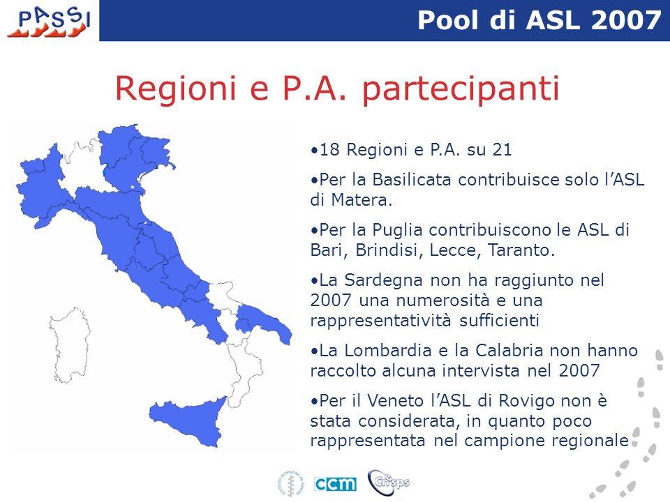 Regioni e P.A. partecipanti 18 Regioni e P.A. su 21 Per la Basilicata contribuisce solo lASL di Matera. Per la Puglia contribuiscono le ASL di Bari, B