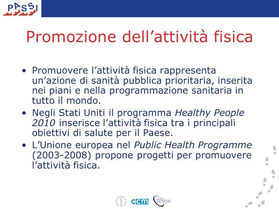 Promozione dellattività fisica Promuovere lattività fisica rappresenta unazione di sanità pubblica prioritaria, inserita nei piani e nella programmazione sanitaria in tutto il mondo.