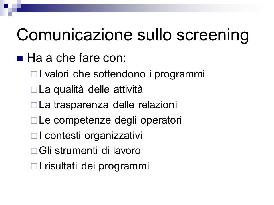 Comunicazione sullo screening Ha a che fare con: I valori che sottendono i programmi La qualità delle attività La trasparenza delle relazioni Le competenze degli operatori I contesti organizzativi Gli strumenti di lavoro I risultati dei programmi