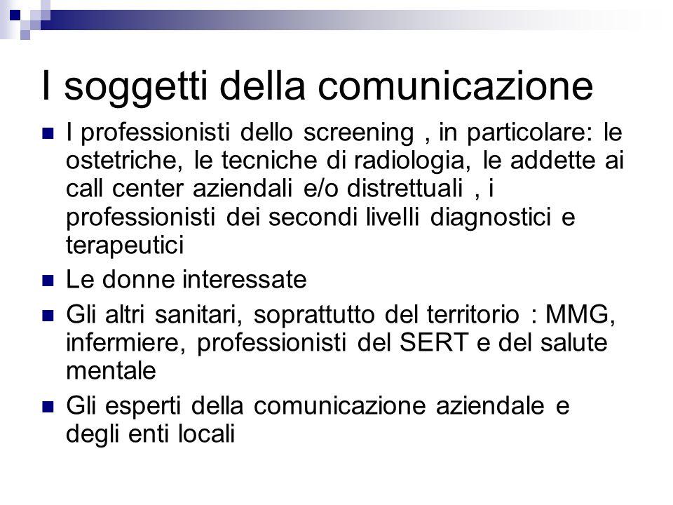 I soggetti della comunicazione I professionisti dello screening, in particolare: le ostetriche, le tecniche di radiologia, le addette ai call center a