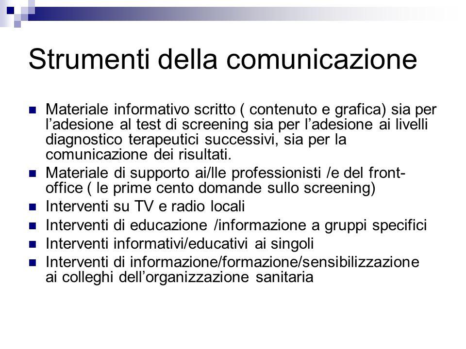 Strumenti della comunicazione Materiale informativo scritto ( contenuto e grafica) sia per ladesione al test di screening sia per ladesione ai livelli