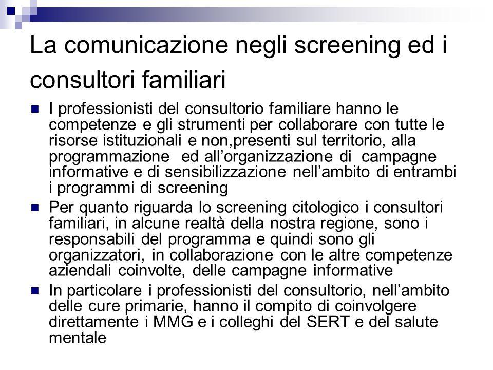 La comunicazione negli screening ed i consultori familiari I professionisti del consultorio familiare hanno le competenze e gli strumenti per collabor