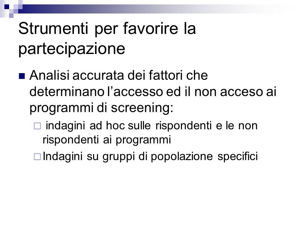 Strumenti per favorire la partecipazione Analisi accurata dei fattori che determinano laccesso ed il non acceso ai programmi di screening: indagini ad