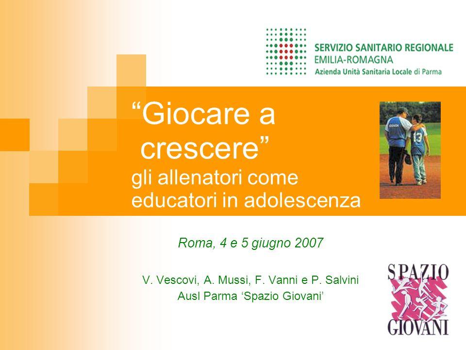 Giocare a crescere gli allenatori come educatori in adolescenza Roma, 4 e 5 giugno 2007 V. Vescovi, A. Mussi, F. Vanni e P. Salvini Ausl Parma Spazio