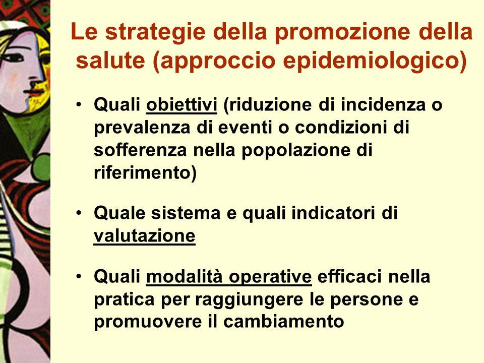 Le strategie della promozione della salute (approccio epidemiologico) Quali obiettivi (riduzione di incidenza o prevalenza di eventi o condizioni di s