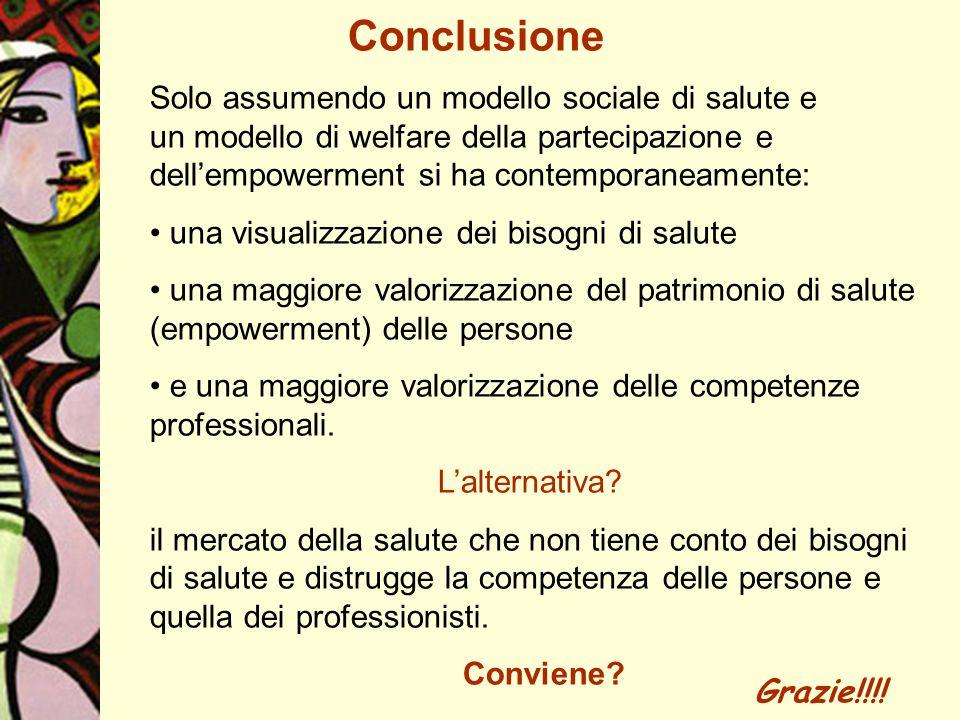 Conclusione Solo assumendo un modello sociale di salute e un modello di welfare della partecipazione e dellempowerment si ha contemporaneamente: una v