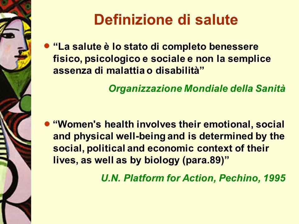 La salute è lo stato di completo benessere fisico, psicologico e sociale e non la semplice assenza di malattia o disabilità Organizzazione Mondiale de