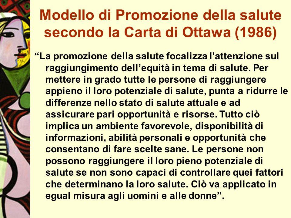 Modello di Promozione della salute secondo la Carta di Ottawa (1986) La promozione della salute focalizza l'attenzione sul raggiungimento dellequità i
