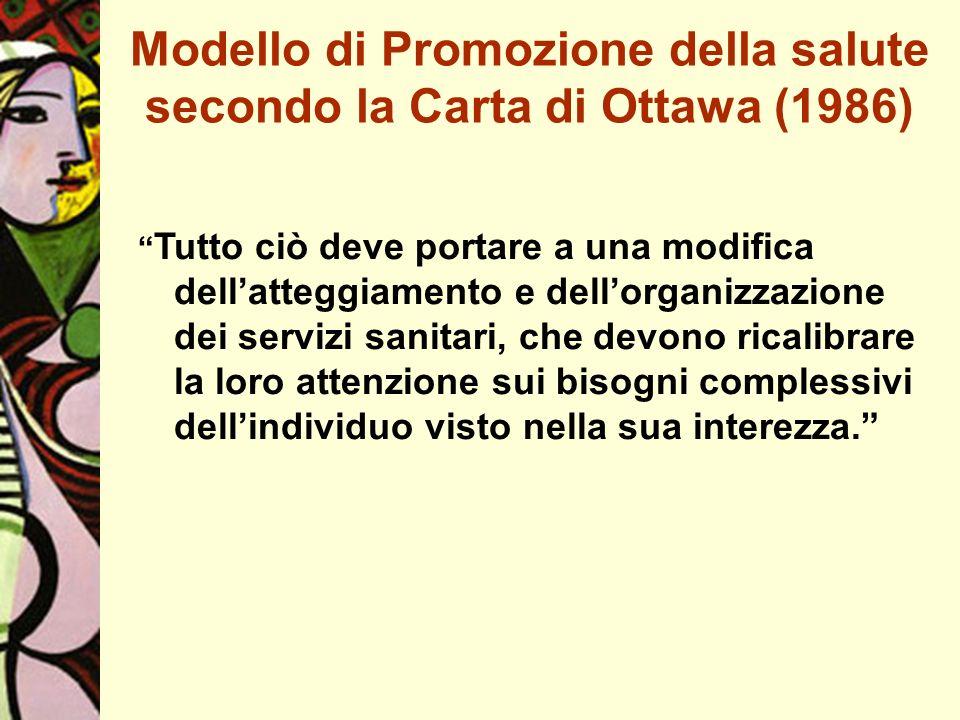 Modello di Promozione della salute secondo la Carta di Ottawa (1986) Tutto ciò deve portare a una modifica dellatteggiamento e dellorganizzazione dei servizi sanitari, che devono ricalibrare la loro attenzione sui bisogni complessivi dellindividuo visto nella sua interezza.