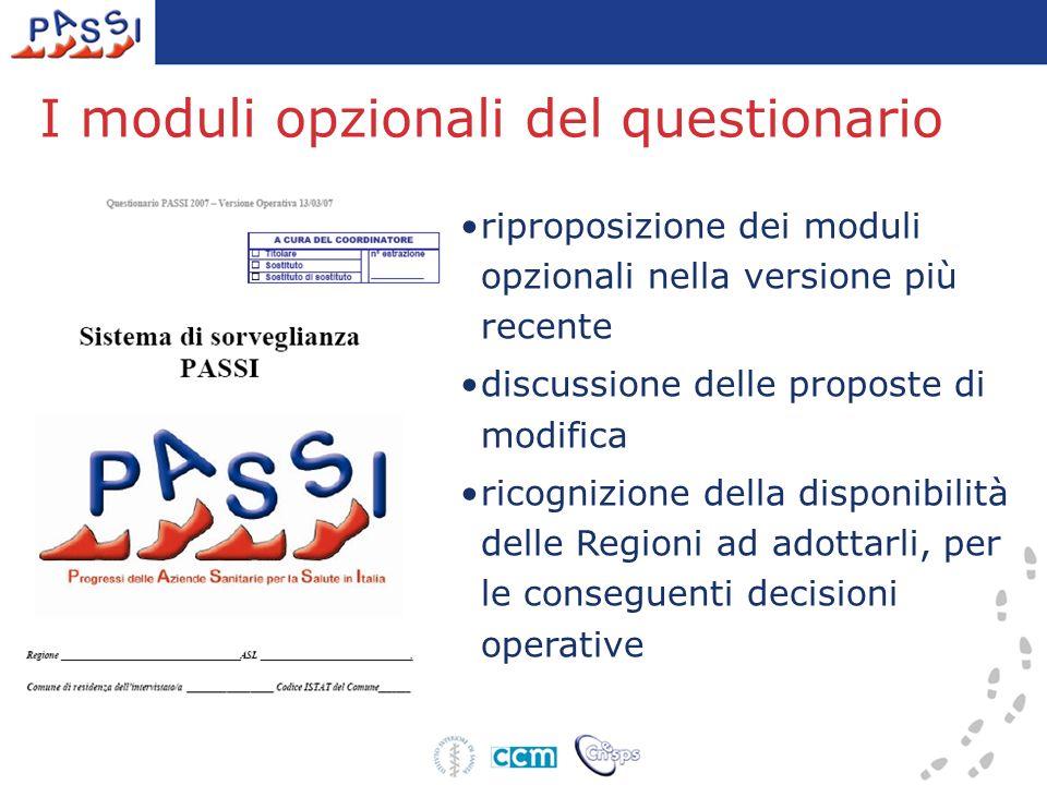 I moduli opzionali del questionario riproposizione dei moduli opzionali nella versione più recente discussione delle proposte di modifica ricognizione della disponibilità delle Regioni ad adottarli, per le conseguenti decisioni operative