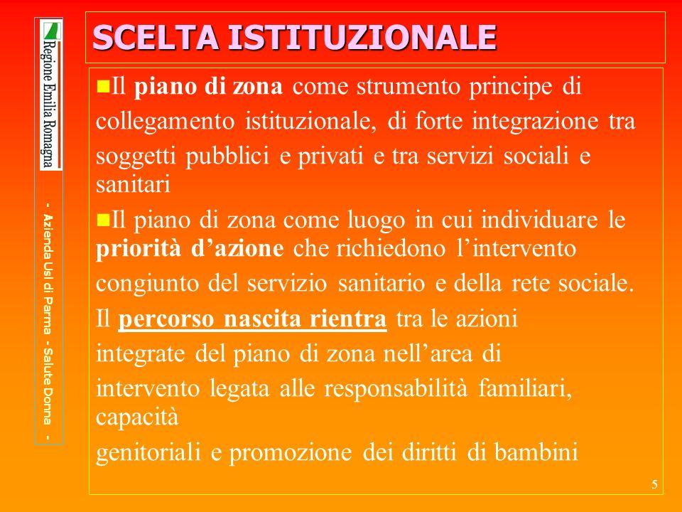36 PERCORSO NASCITA PERCORSO NASCITA Formazione per tutti gli operatori per: approfondire gli impegni previsti nel Protocollo assumere una cultura condivisa migliorare la capacità di lavoro in un contesto multidisciplinare facilitare i percorsi socio-sanitari - Azienda Usl di Parma - Salute Donna -