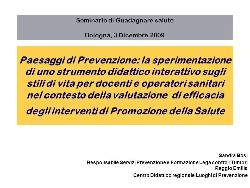 Il paradigma della Prevenzione dei comportamenti a rischio: programma Impatto sulla salute problemi correlati ai comportam enti a rischio