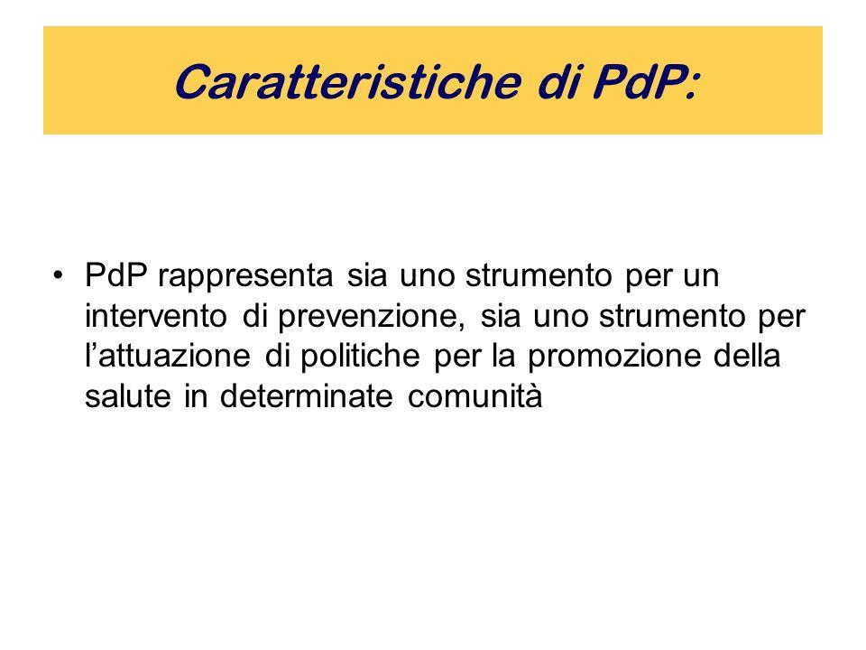 Caratteristiche di PdP: PdP rappresenta sia uno strumento per un intervento di prevenzione, sia uno strumento per lattuazione di politiche per la promozione della salute in determinate comunità