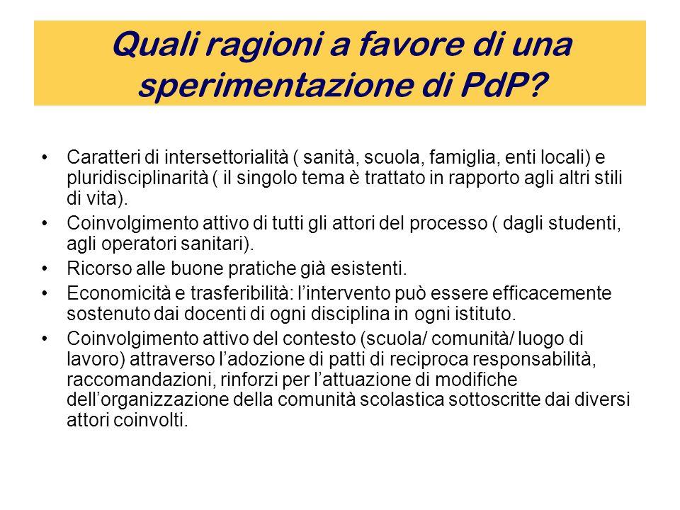 Quali ragioni a favore di una sperimentazione di PdP.