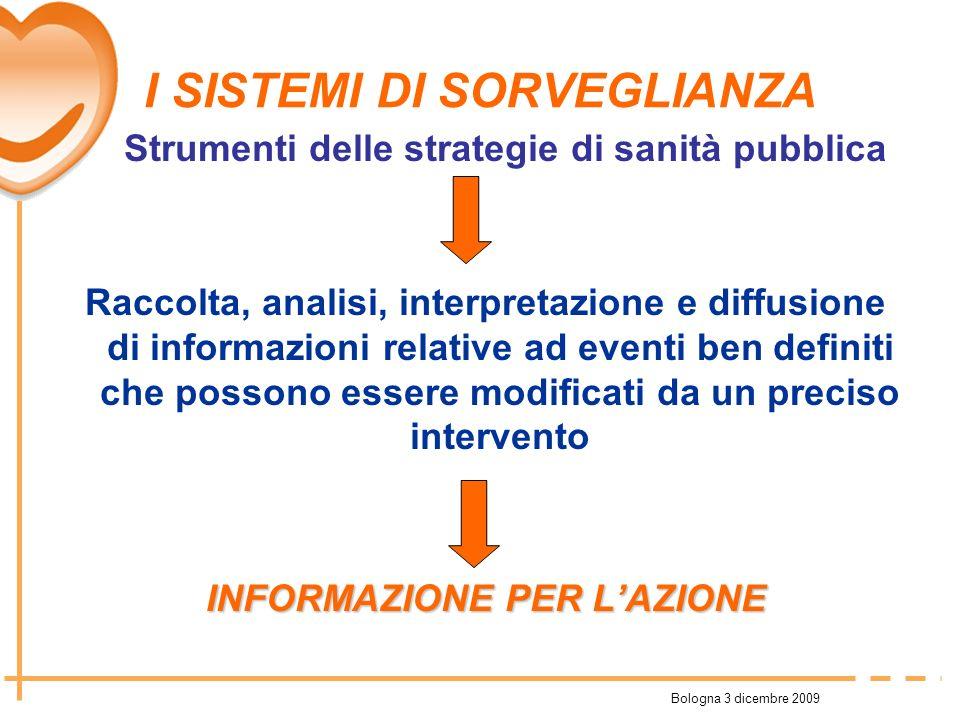 Bologna 3 dicembre 2009 I SISTEMI DI SORVEGLIANZA Strumenti delle strategie di sanità pubblica Raccolta, analisi, interpretazione e diffusione di info