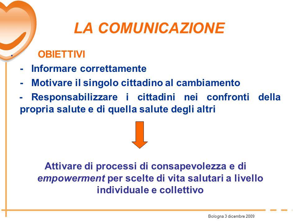 Bologna 3 dicembre 2009 LA COMUNICAZIONE OBIETTIVI - Informare correttamente - Motivare il singolo cittadino al cambiamento - Responsabilizzare i citt