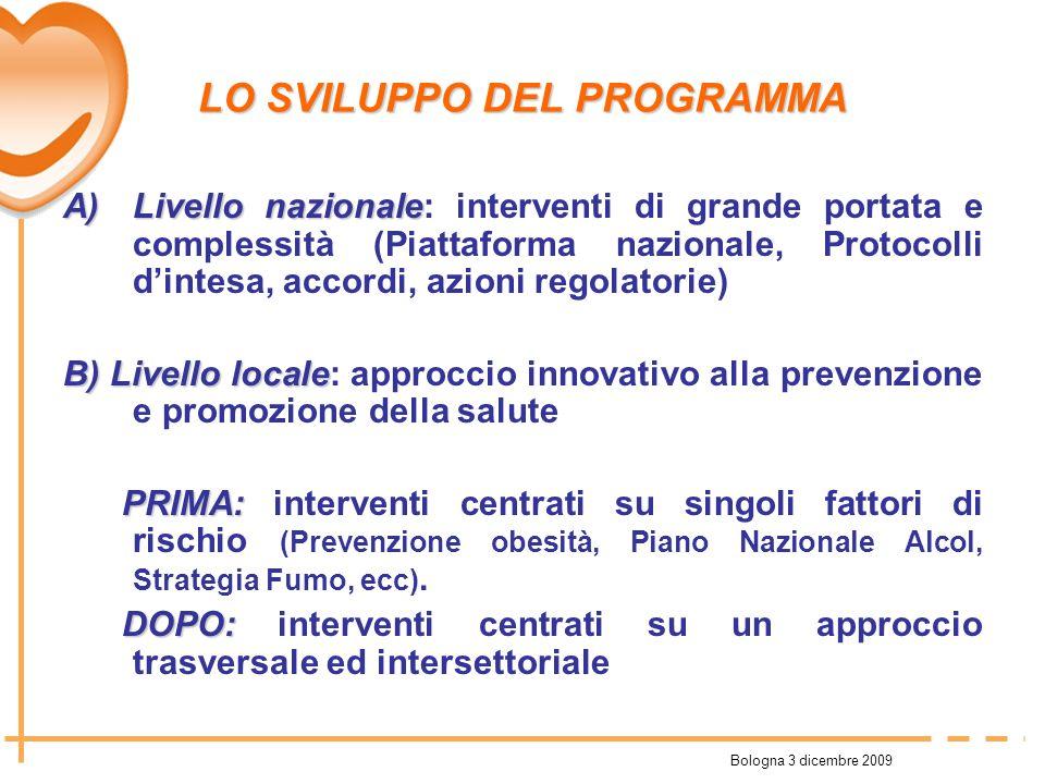 Bologna 3 dicembre 2009 LO SVILUPPO DEL PROGRAMMA A)Livello nazionale A)Livello nazionale: interventi di grande portata e complessità (Piattaforma naz