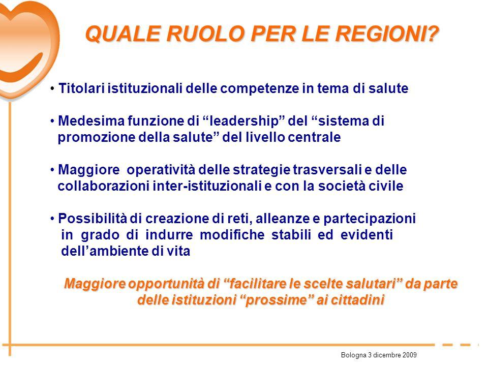 Bologna 3 dicembre 2009 QUALE RUOLO PER LE REGIONI? Titolari istituzionali delle competenze in tema di salute Medesima funzione di leadership del sist