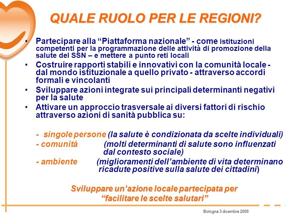 Bologna 3 dicembre 2009 QUALE RUOLO PER LE REGIONI? QUALE RUOLO PER LE REGIONI? Partecipare alla Piattaforma nazionale - come istituzioni competenti p