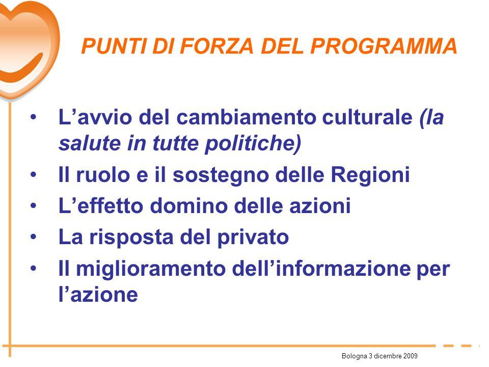 Bologna 3 dicembre 2009 PUNTI DI FORZA DEL PROGRAMMA Lavvio del cambiamento culturale (la salute in tutte politiche) Il ruolo e il sostegno delle Regi