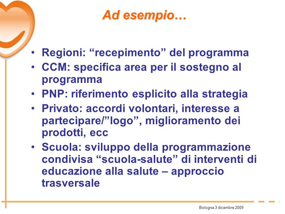 Bologna 3 dicembre 2009 Regioni: recepimento del programma CCM: specifica area per il sostegno al programma PNP: riferimento esplicito alla strategia