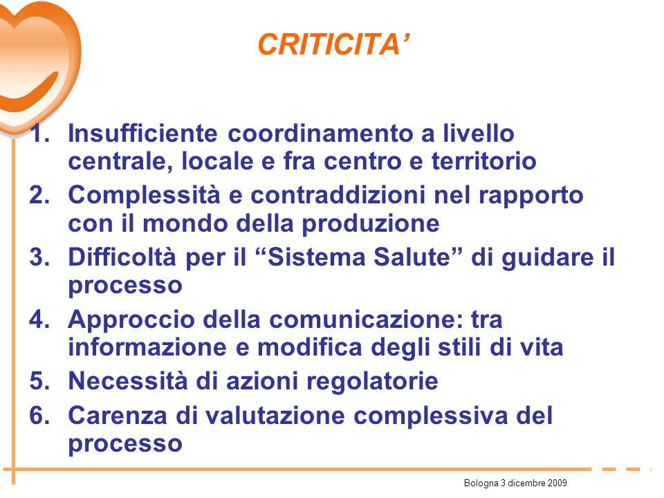 Bologna 3 dicembre 2009 CRITICITA 1.Insufficiente coordinamento a livello centrale, locale e fra centro e territorio 2.Complessità e contraddizioni ne