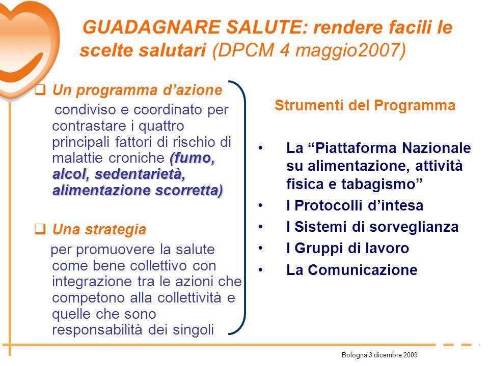 Bologna 3 dicembre 2009 Un programma dazione (fumo, alcol, sedentarietà, alimentazione scorretta) condiviso e coordinato per contrastare i quattro pri