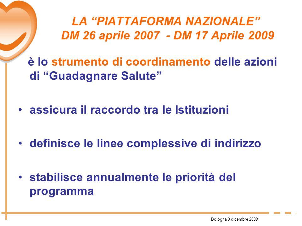 Bologna 3 dicembre 2009 LA PIATTAFORMA NAZIONALE DM 26 aprile 2007 - DM 17 Aprile 2009 è lo strumento di coordinamento delle azioni di Guadagnare Salu