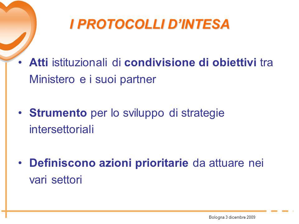Bologna 3 dicembre 2009 I PROTOCOLLI DINTESA Atti istituzionali di condivisione di obiettivi tra Ministero e i suoi partner Strumento per lo sviluppo