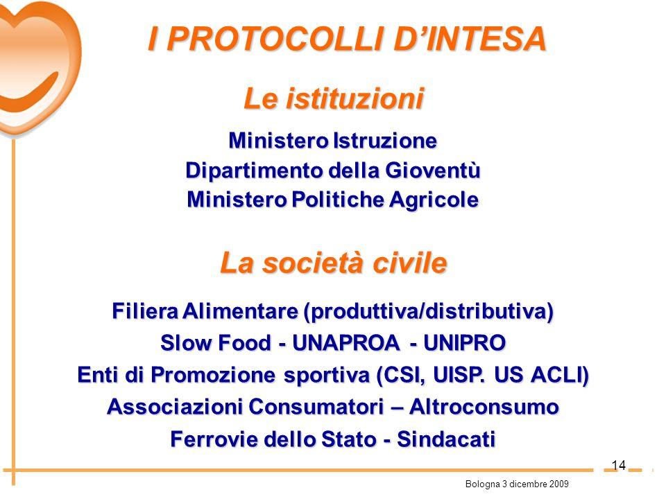Bologna 3 dicembre 2009 I PROTOCOLLI DINTESA I PROTOCOLLI DINTESA Le istituzioni Ministero Istruzione Dipartimento della Gioventù Ministero Politiche