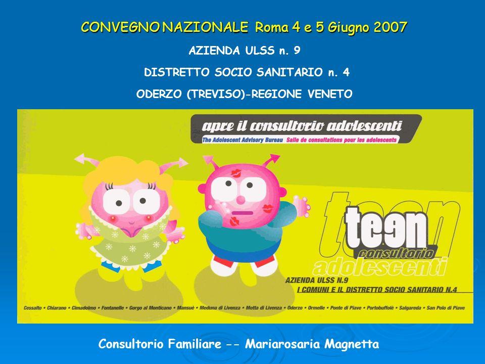 CONVEGNO NAZIONALE Roma 4 e 5 Giugno 2007 AZIENDA ULSS n. 9 DISTRETTO SOCIO SANITARIO n. 4 ODERZO (TREVISO)-REGIONE VENETO Consultorio Familiare -- Ma