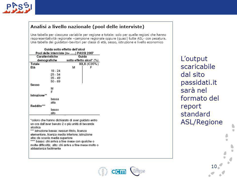 10 Loutput scaricabile dal sito passidati.it sarà nel formato del report standard ASL/Regione