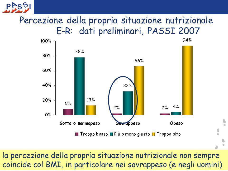 16 Percezione della propria situazione nutrizionale E-R: dati preliminari, PASSI 2007 la percezione della propria situazione nutrizionale non sempre coincide col BMI, in particolare nei sovrappeso (e negli uomini)