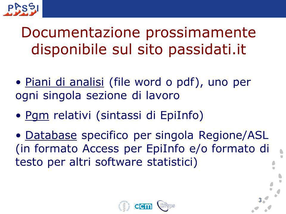 3 Documentazione prossimamente disponibile sul sito passidati.it Piani di analisi (file word o pdf), uno per ogni singola sezione di lavoro Pgm relativi (sintassi di EpiInfo) Database specifico per singola Regione/ASL (in formato Access per EpiInfo e/o formato di testo per altri software statistici)