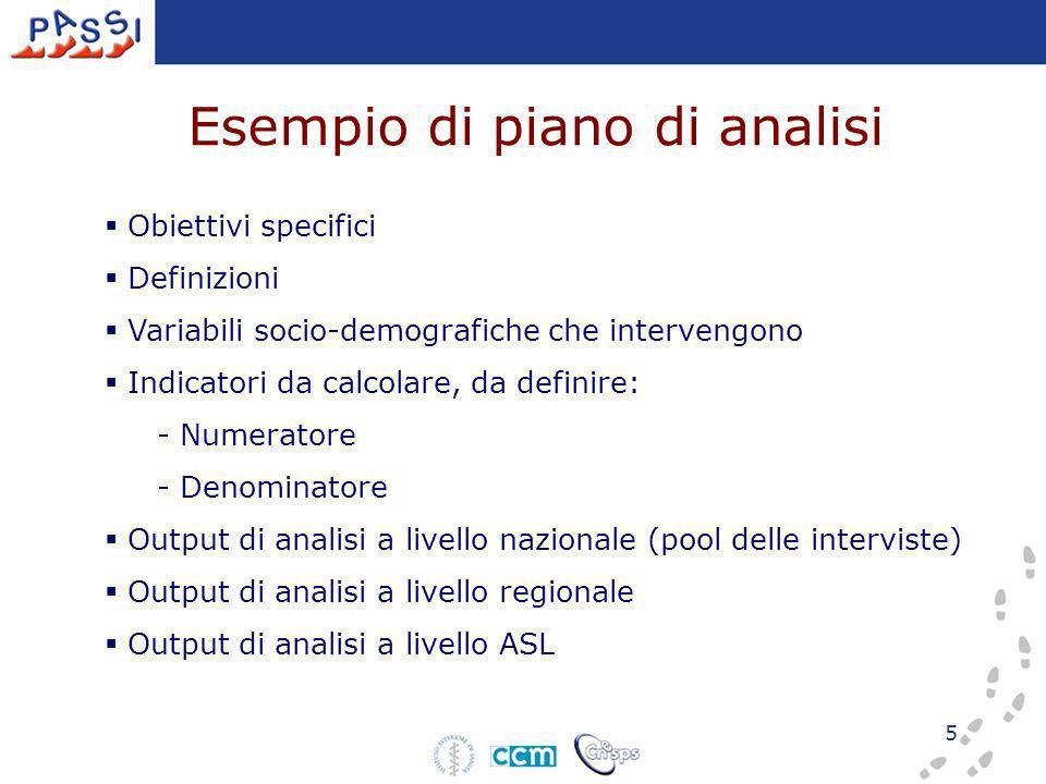 5 Obiettivi specifici Definizioni Variabili socio-demografiche che intervengono Indicatori da calcolare, da definire: - Numeratore - Denominatore Output di analisi a livello nazionale (pool delle interviste) Output di analisi a livello regionale Output di analisi a livello ASL