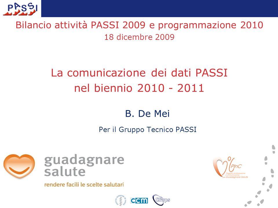 Bilancio attività PASSI 2009 e programmazione 2010 18 dicembre 2009 La comunicazione dei dati PASSI nel biennio 2010 - 2011 B. De Mei Per il Gruppo Te